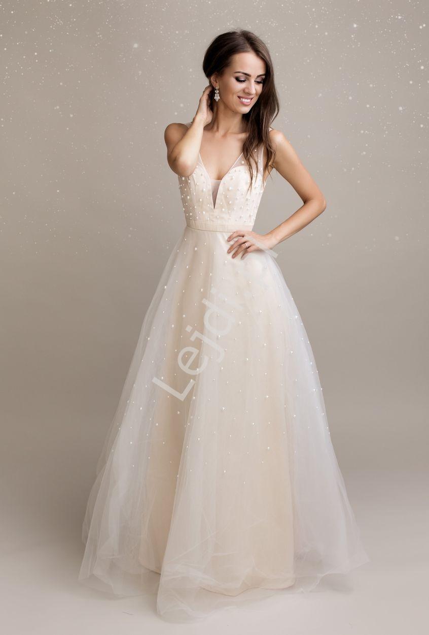 Beżowa suknia z perłkami sztucznymi na tiulu 2193 - Lejdi