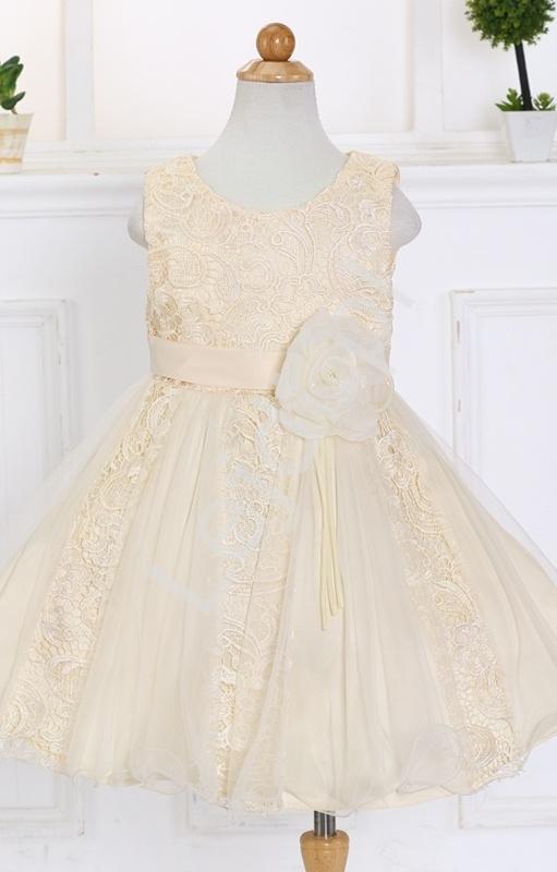 Beżowa tiulowo koronkowa sukienka dla dziewczynki | sukienki dla dziewczynek - Lejdi