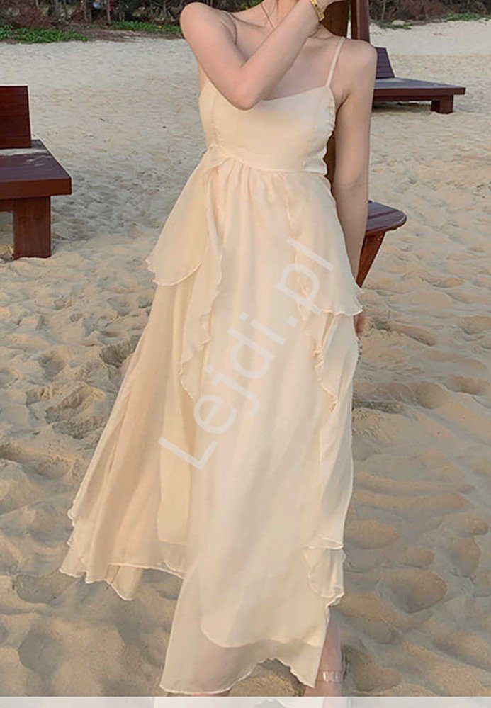 Beżowa zwiewna sukienka letnia z falbankami na spódnicy 4646 - Lejdi