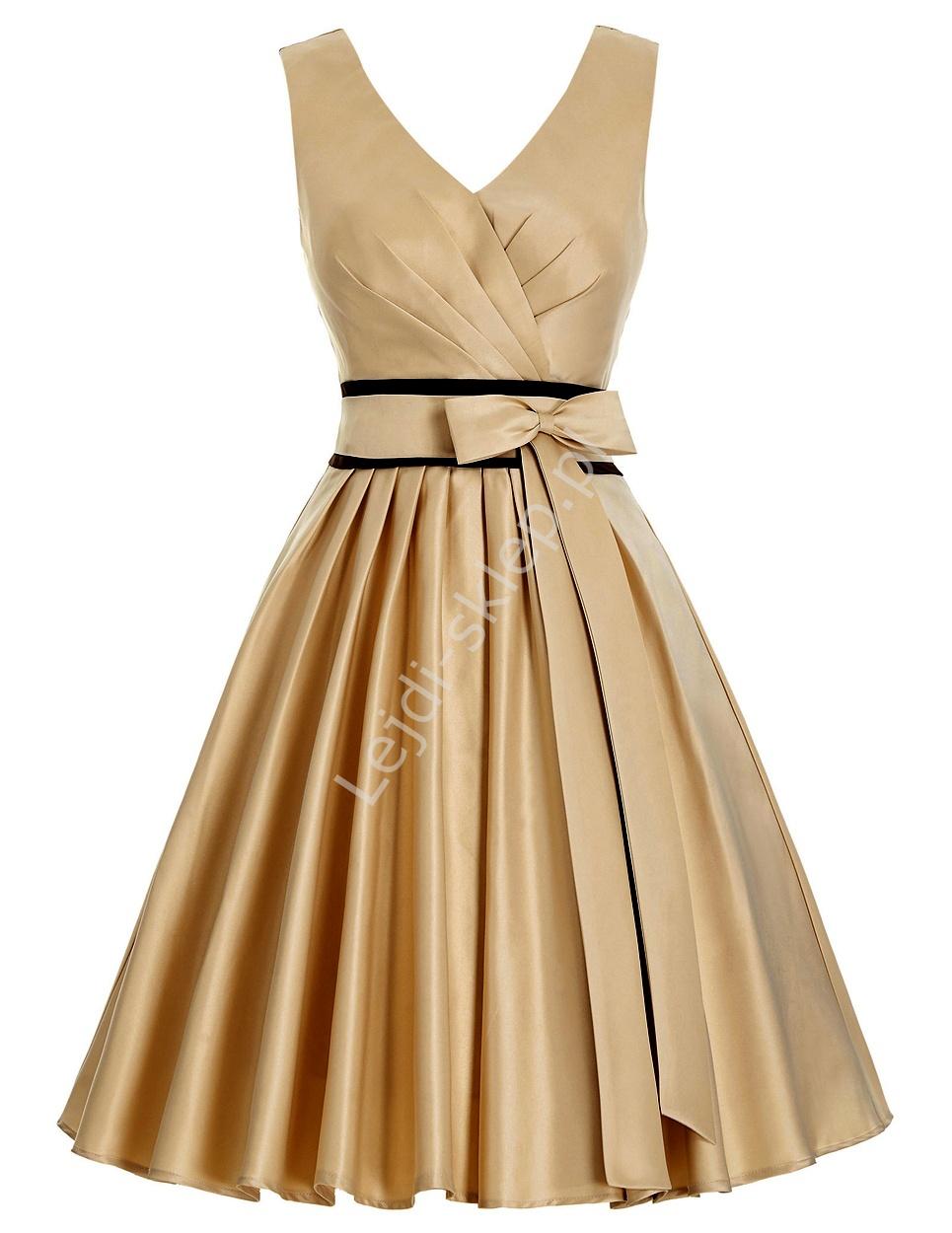 Szampańsko beżowa rozkloszowana sukienka z kokardka w pasie - Lejdi