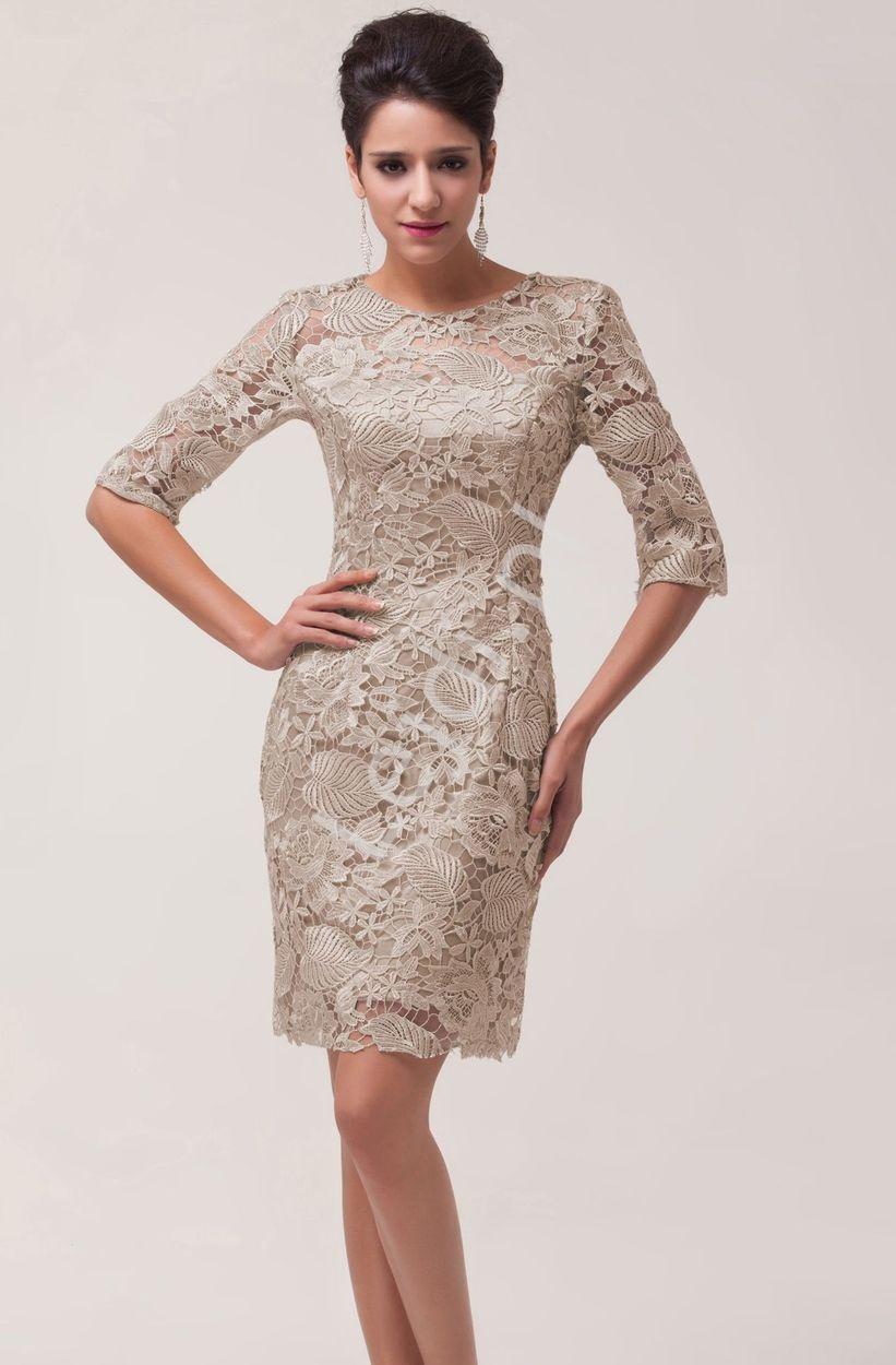 99c2b46bf3 Beżowo szara koronkowa sukienka wieczorowa