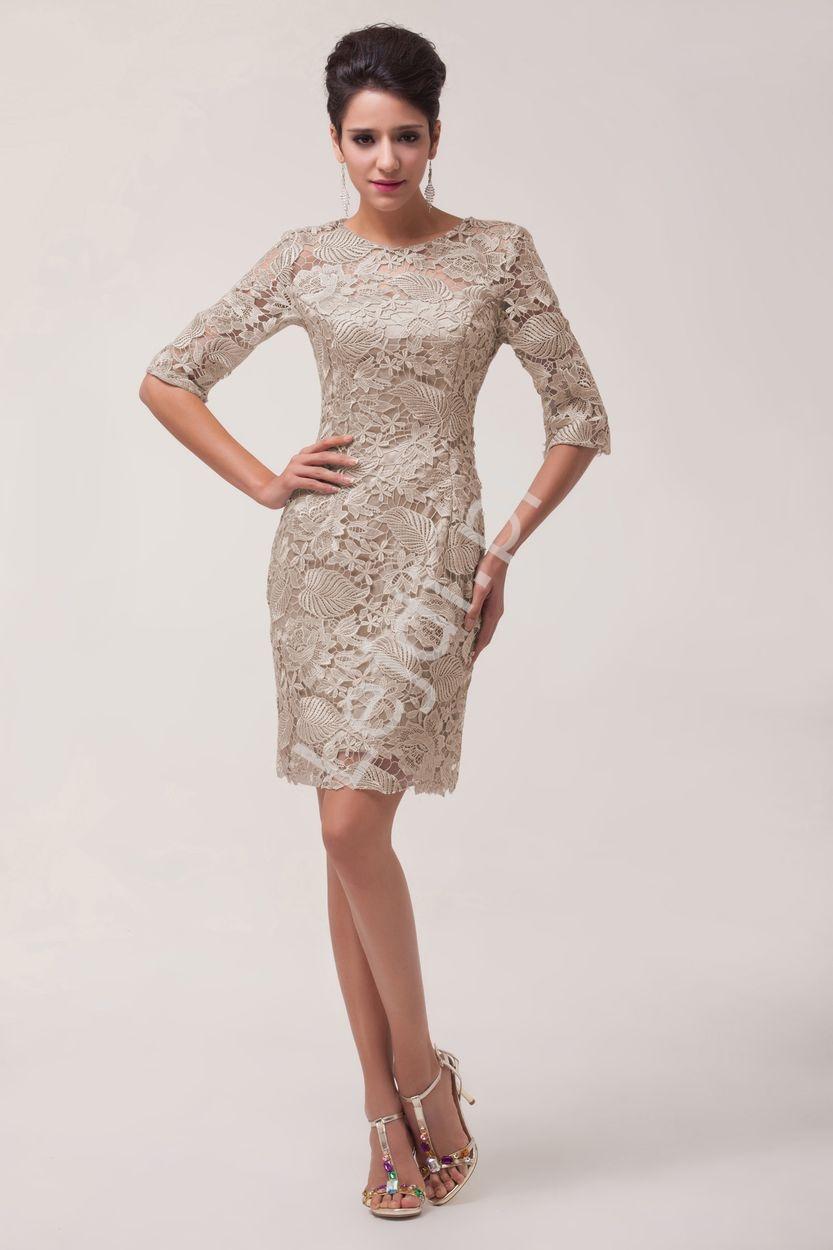 f86c8eb3e5 Beżowo szara koronkowa sukienka wieczorowa