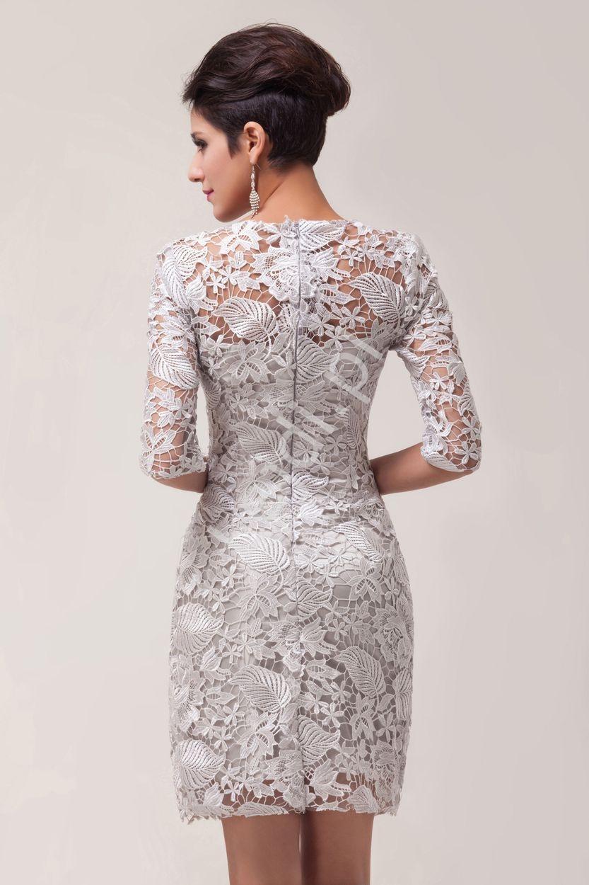 81bf56da29 Beżowo szara koronkowa sukienka wieczorowa