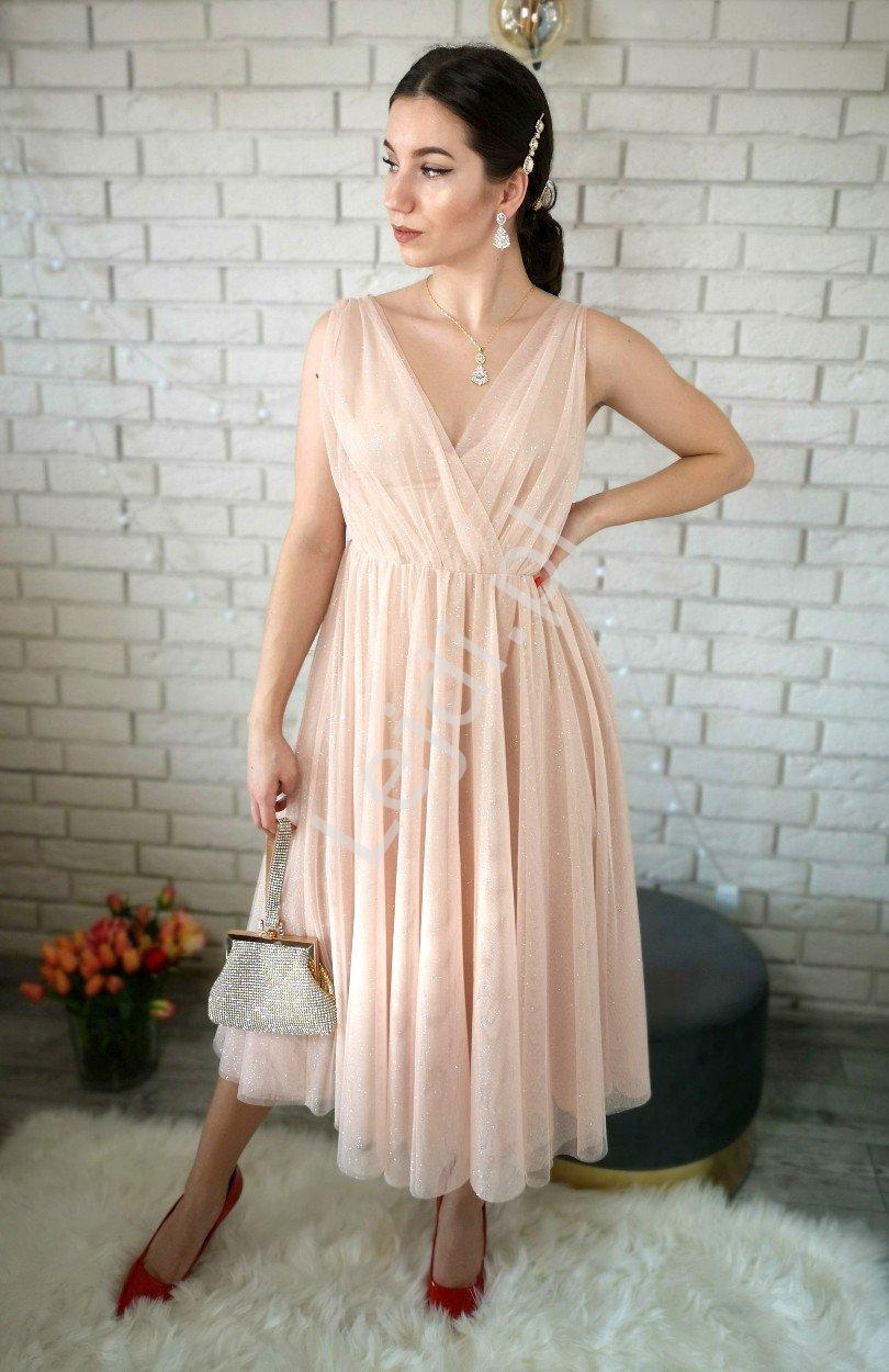 Beżowo złota sukienka wieczorowa z brokatem, Suzana EMO