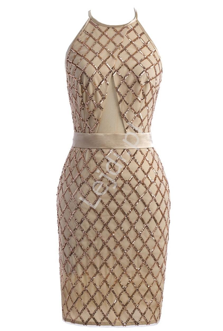 Beżowo złota sukienka z cekinami | sukienki z cekinami - Lejdi