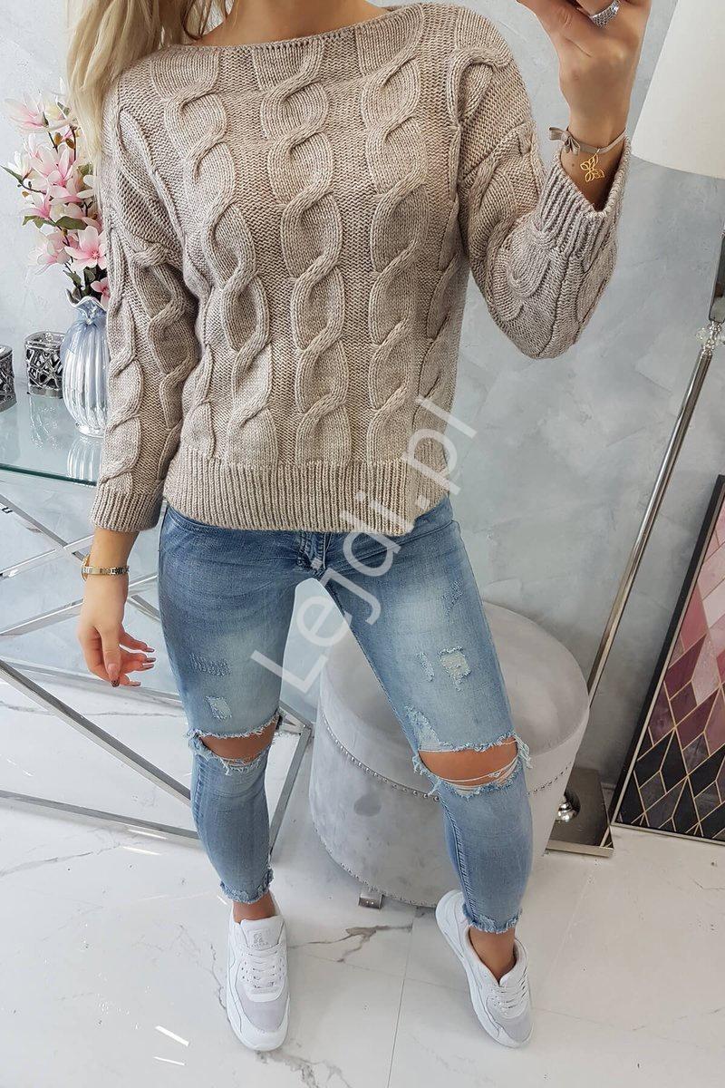Beżowy dziergany sweter GH2019 - Lejdi