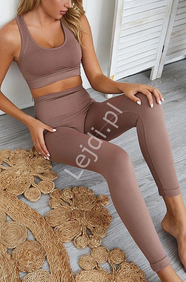Bezszwowy sportowy komplet damski legginsy + bluzka mocca 127 - Lejdi