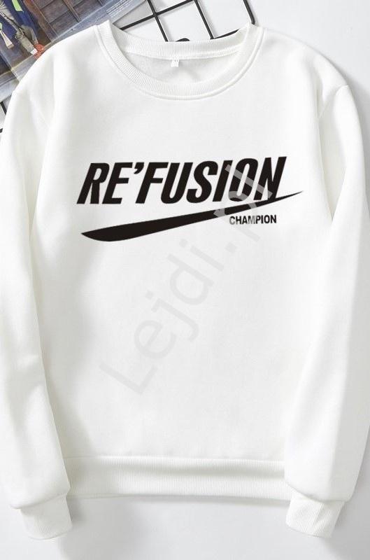 Biała bluza damska z napisem RE'FUSION - Lejdi