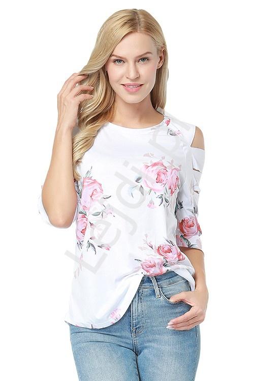Biała bluzka kwiatowa z rozcięciami na rękawach 0339 - Lejdi