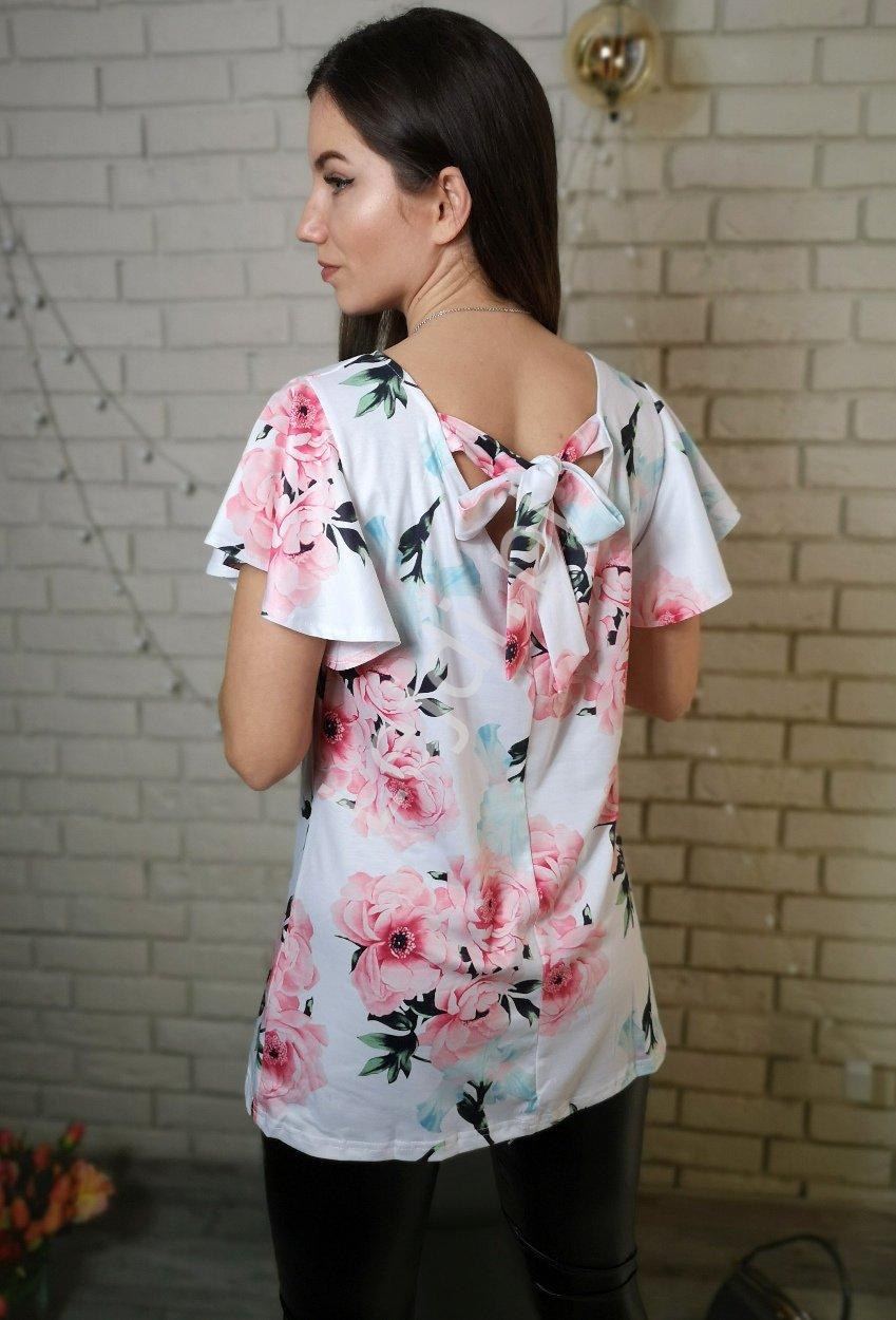 Biała bluzka w kwiaty z wiązaniem na plecach - Lejdi