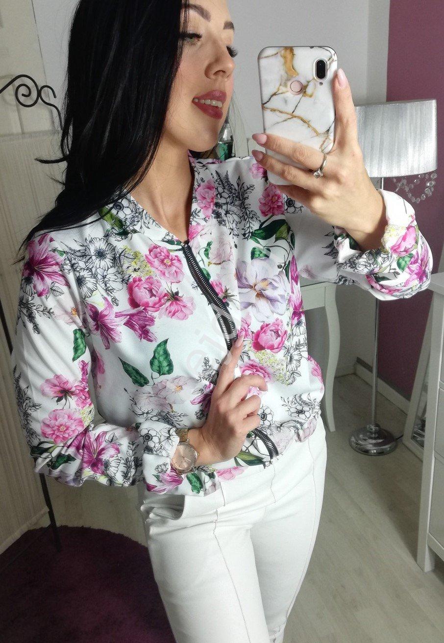 Biała bomberka w kwiaty kolorowe, lekka bluza w kwiaty - Lejdi