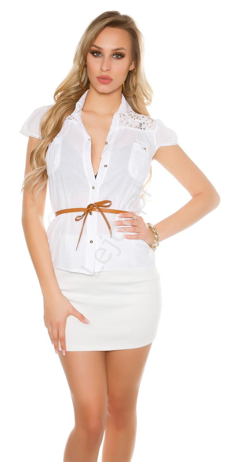 Młodzieńczy Biała damska koszula bawełniana zdobiona koronką i jetami XJ95