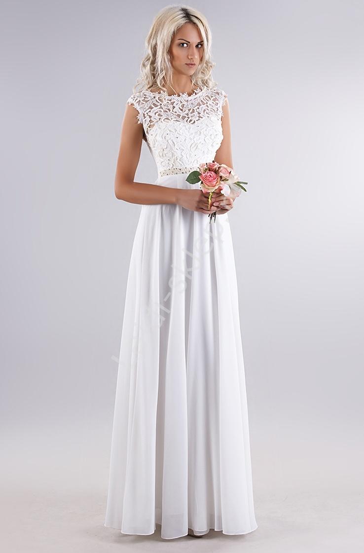 353ad7b116 Biała delikatna sukienka z gipiurową koronką na biuście i perełkami ...