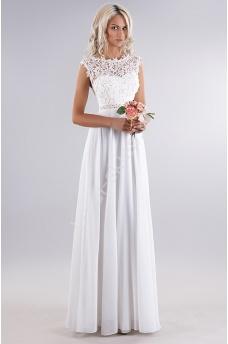 b7cbfdf62f Biała delikatna sukienka z gipiurową koronką na biuście i perełkami