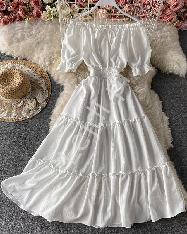 Biała letnia sukienka z falbanami hiszpanka 1148 - Lejdi