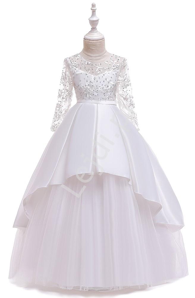 Biała długa sukienka dziecięca na komunię w barokowym stylu 233 - Lejdi