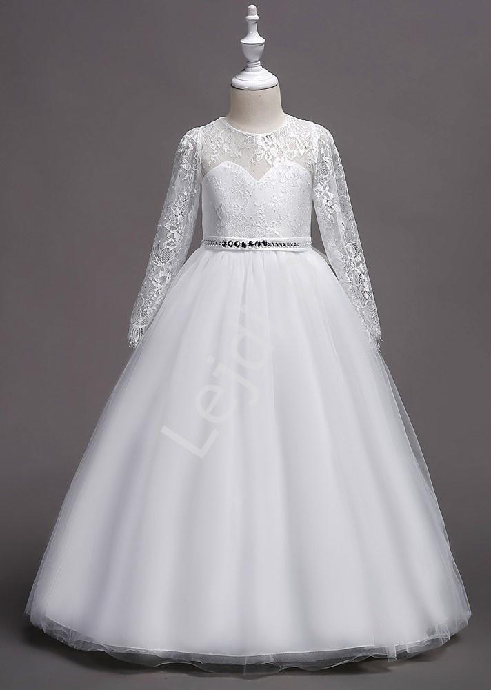 Biała długa sukienka na komunię zdobiona kryształkami 023 - Lejdi