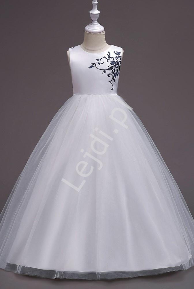 Biała długa suknia wieczorowa dla dziewczynki z granatowym haftem 819 - Lejdi