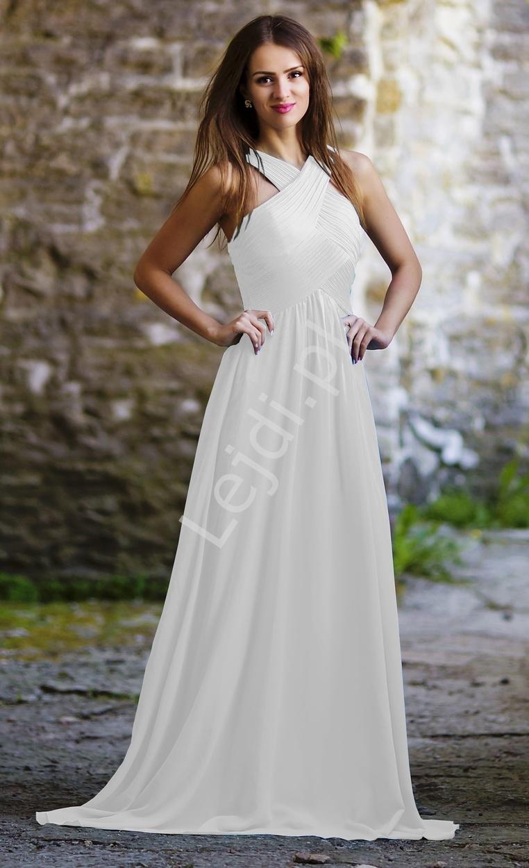 Biała długa suknia z marszczonym dekoltem - Lejdi