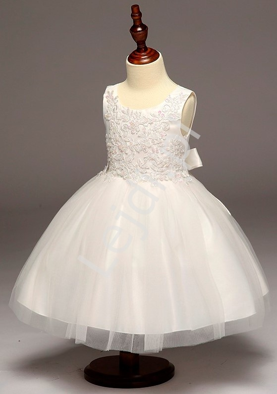 Biała dziecięca sukienka na chrzest, komunię dla dziewczynek - Lejdi