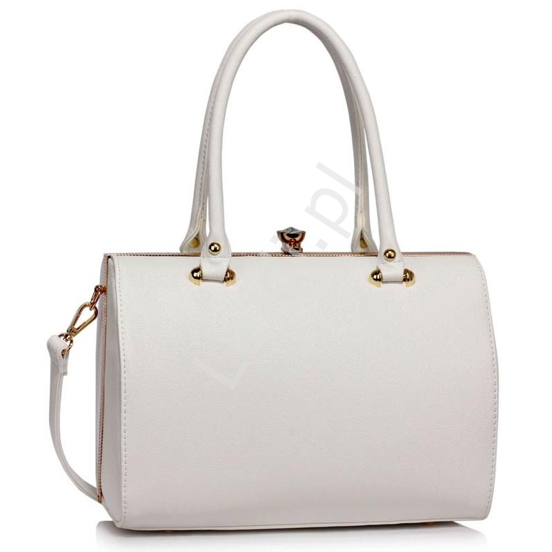 53faacc09a1ef Biała elegancka klasyczna torebka typu doctor bag