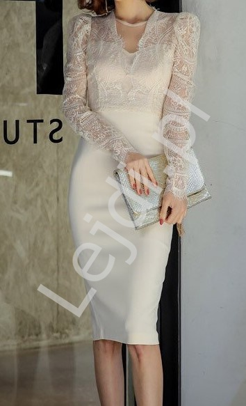 Biała elegancka sukienka do ślubu cywilnego 2449 - Lejdi