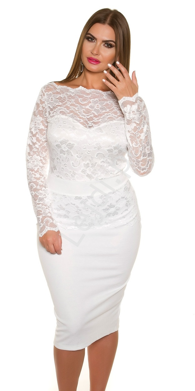 Biała elegancka sukienka koronkowa plus size 334p -4 | Sukienki koronkowe duże rozmiary - Lejdi