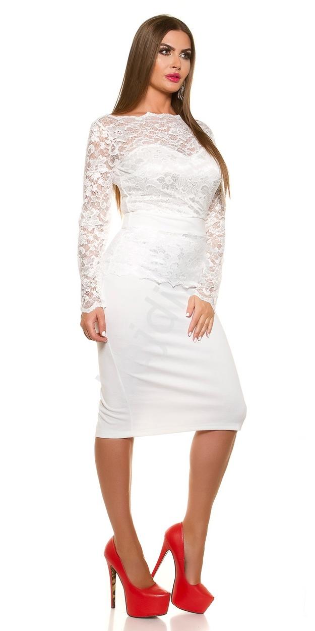 1d70e3122d Biała elegancka sukienka koronkowa plus size 334p -4 duże rozmiary ...