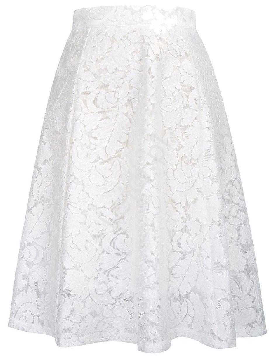 Biała koronkowa spódnica rozkloszowana 236 - Lejdi