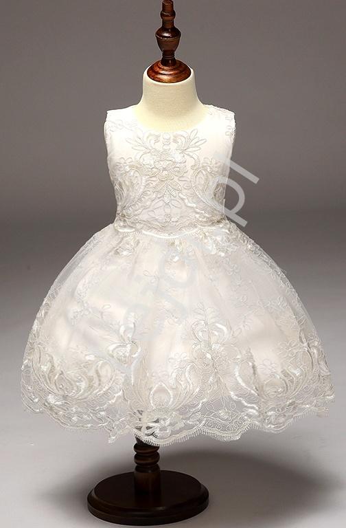 Biała koronkowa sukieneczka dla dziewczynki| sukienki na komunie, chrzest dla dziewczynki - Lejdi