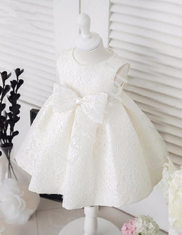 Biała koronkowa sukienka dla dziewczynki na chrzciny, urodziny, święta - Lejdi