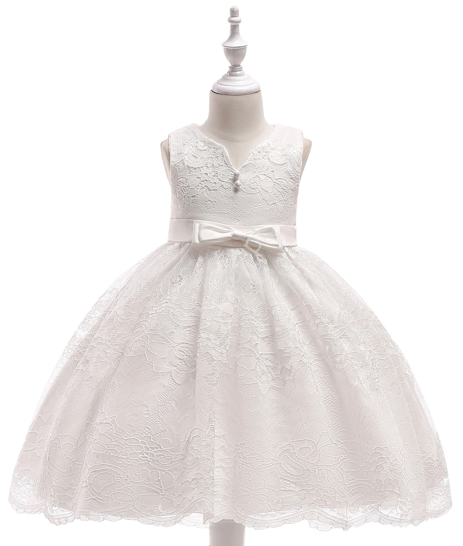 15818f30df Biała koronkowa sukienka dla dziewczynki z kokardami na chrzciny