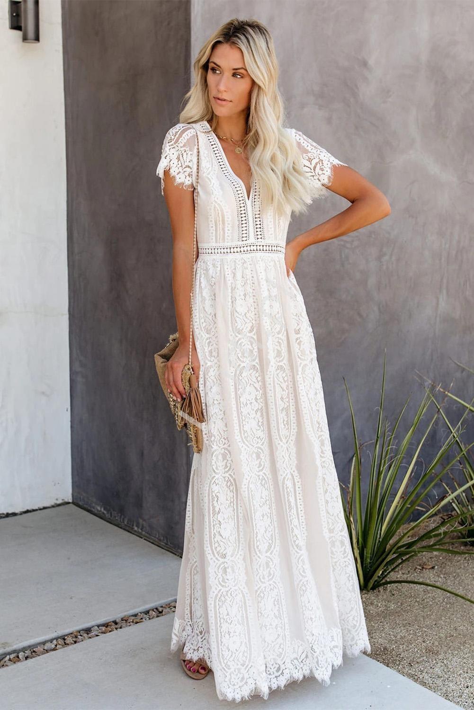 Biała koronkowa sukienka letnia 316