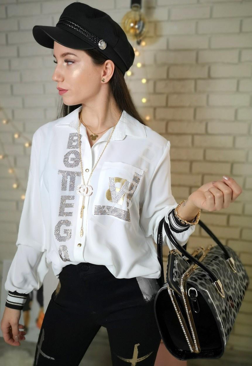 Biała koszula damska BOTTEGA z kryształkami 460 - Lejdi