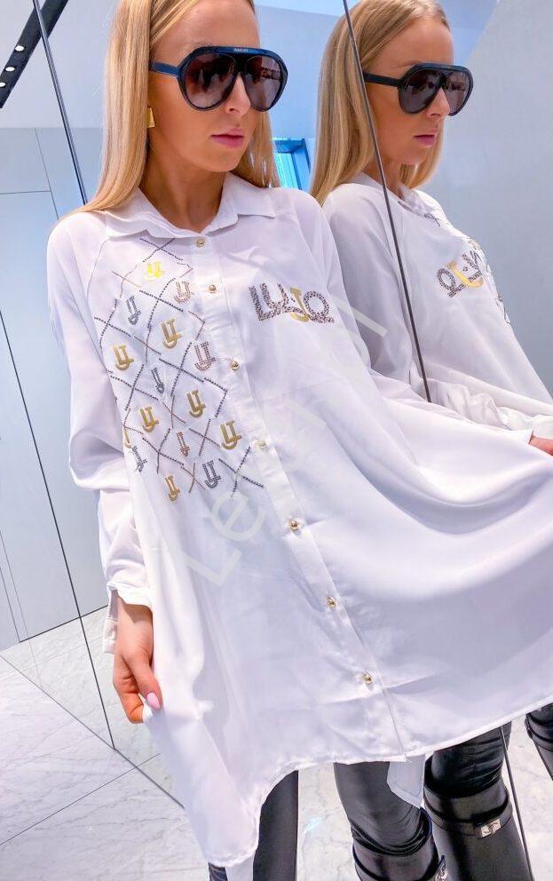 Biała koszula damska Lu JO z kryształkami 452 - Lejdi