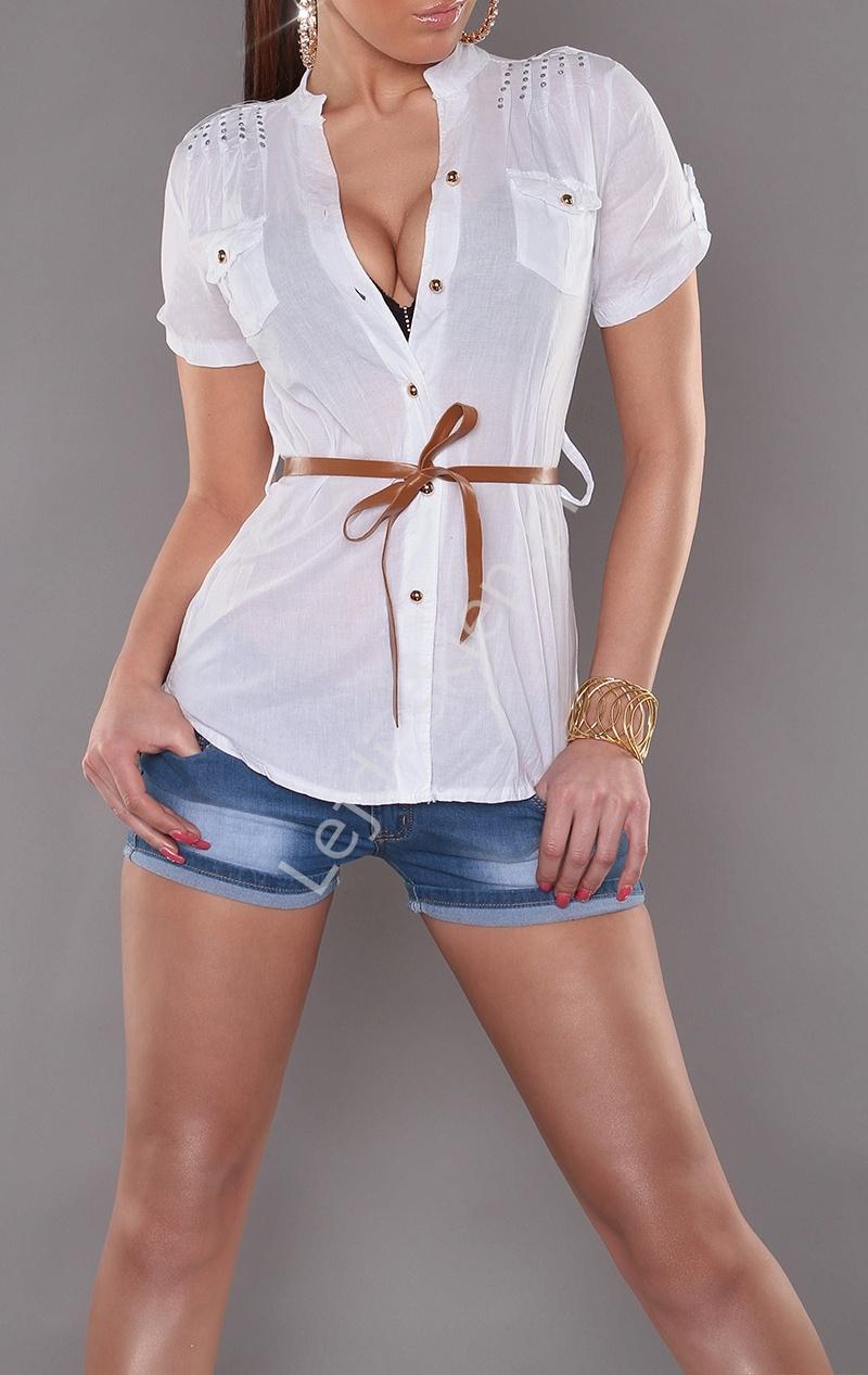Zupełnie nowe Biała koszula z brązowym paskiem | elegancka biała bluzka QV77
