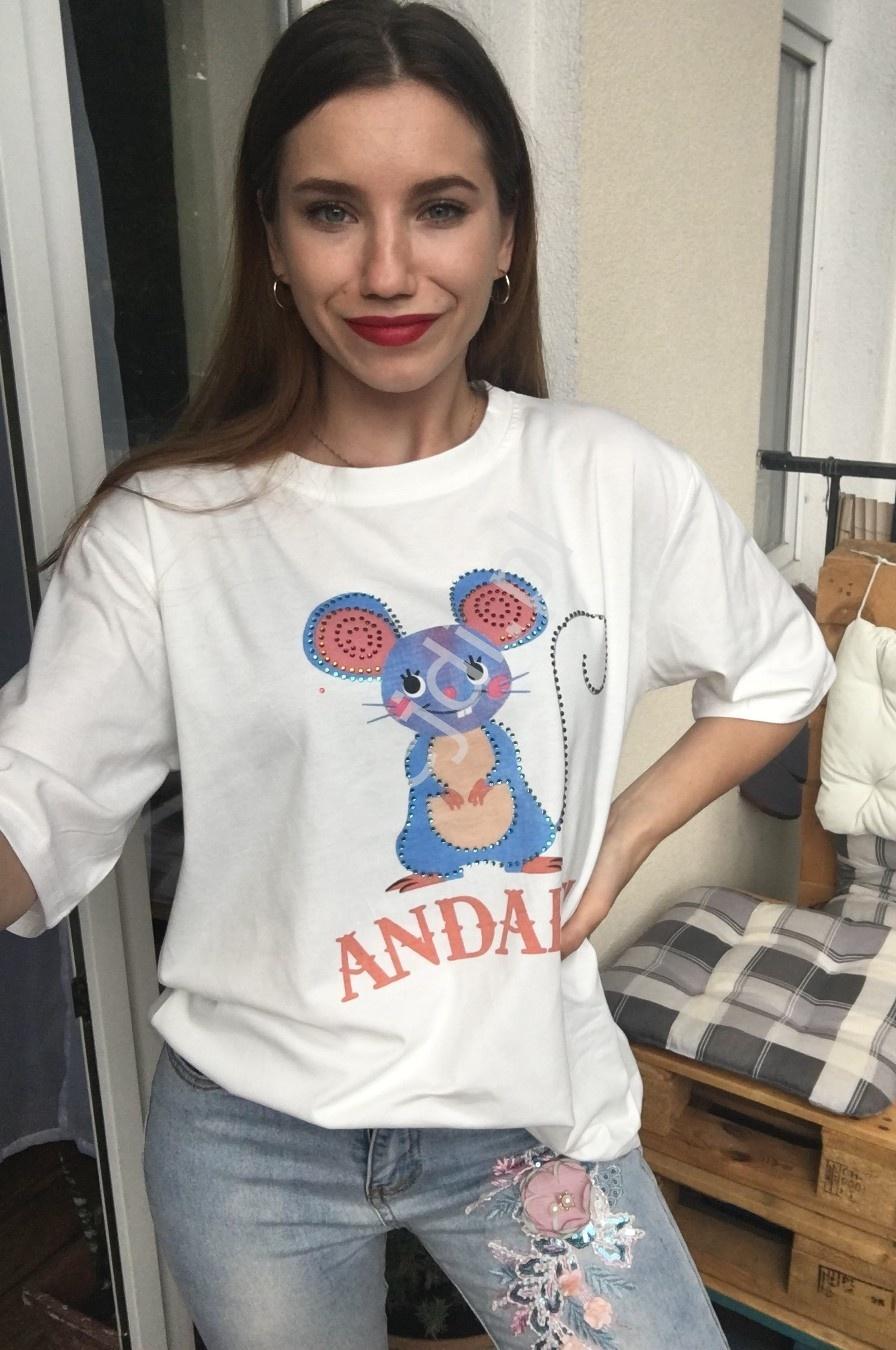 Biała koszulka damska z myszką z kryształkami - Lejdi