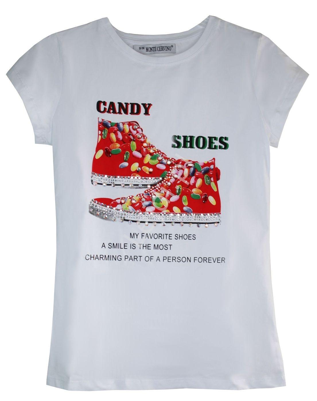 Biała koszulka damska z trampkami z kryształkami Candy Shoes - Lejdi