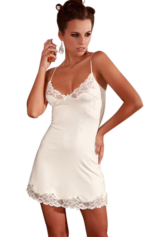 Biała koszulka nocna z koronką, biała piżamka damska 5405 - Lejdi