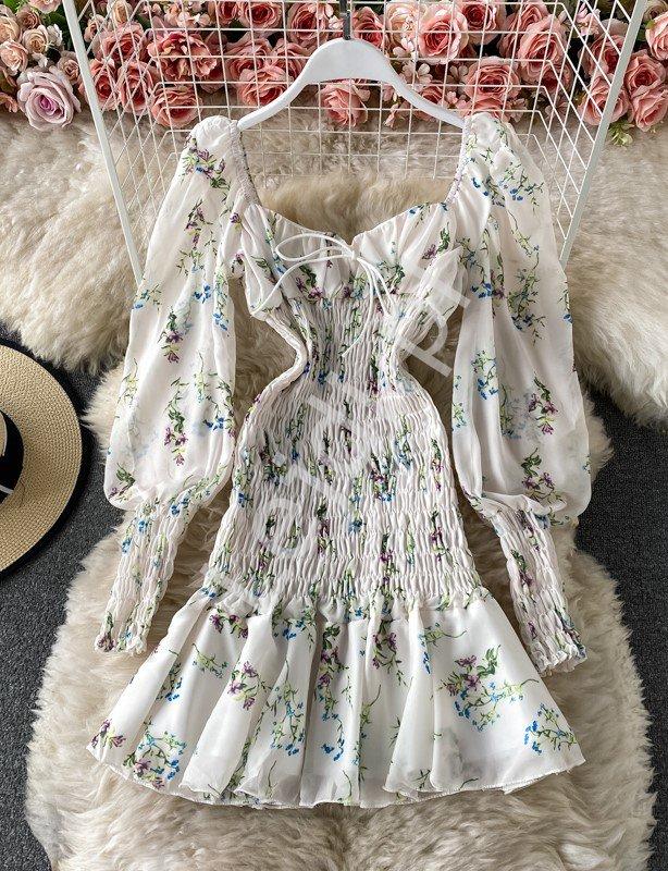 Biała krótka sukienka letnia w kwiatowy wzór 1133 - Lejdi