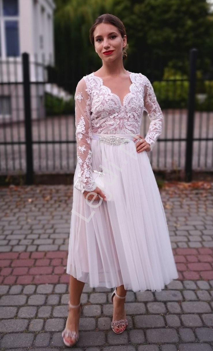 Biała oryginalna sukienka ślubna z podszewką brudno różową, Rene - Lejdi