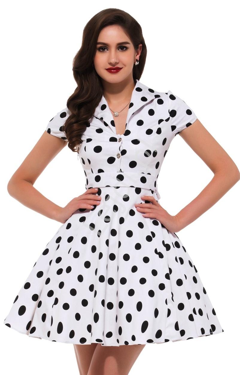 Biała rozkloszowana sukienka w czarne duże kropki | sukienka pin up na wesele 6089-6 - Lejdi
