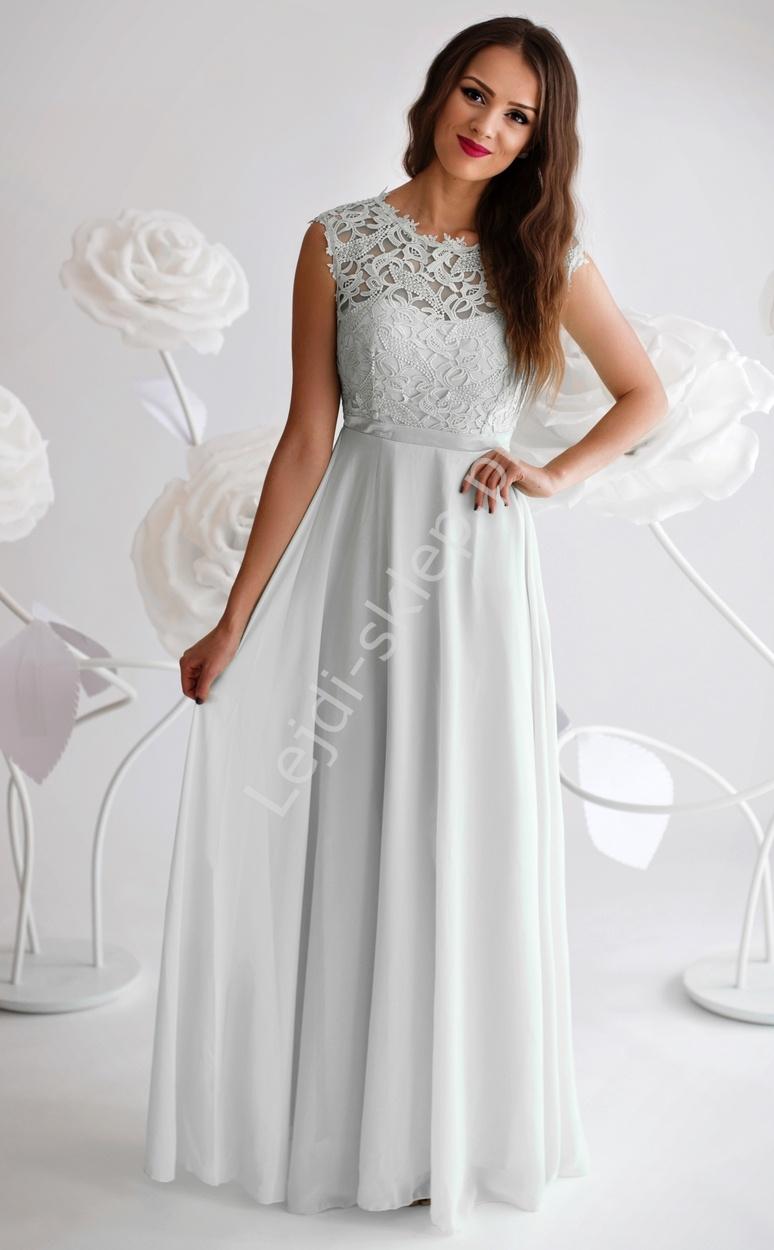 Biała skromna sukienka z gipiurową koronką na biuście - Lejdi
