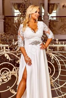 3ace7cb915b Biała ślubna suknia plus size z koronkową górą zdobioną cekinami - Crystal