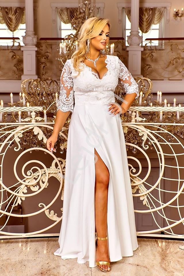 Ślubna suknia plus size w kolorze ecru z koronkową górą zdobioną cekinami - Crystal 3/4 - Lejdi