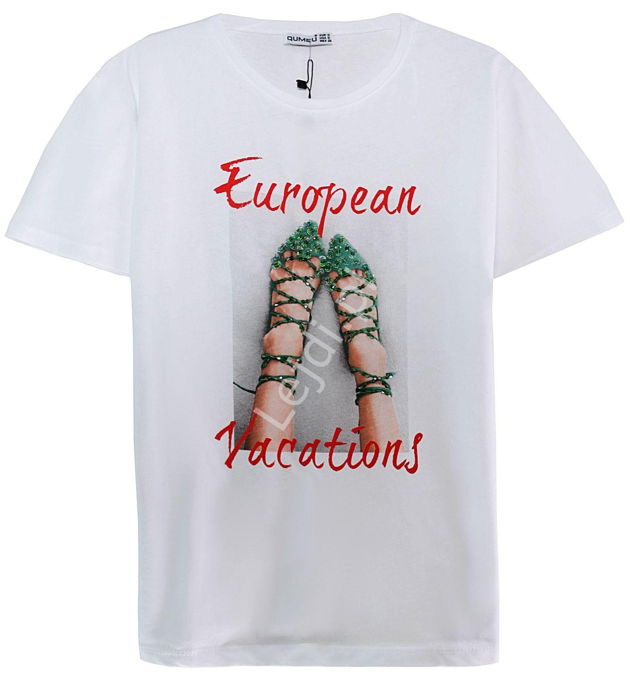 Biała stylowa koszulka damska z zielonymi butami z cekinami - Lejdi