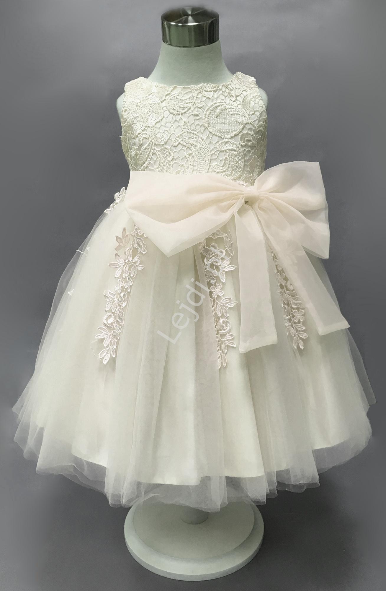Biała sukienka dla dziewczynki, bogato zdobiona gipiurową koronką | sukienka na chrzest, roczek - Lejdi