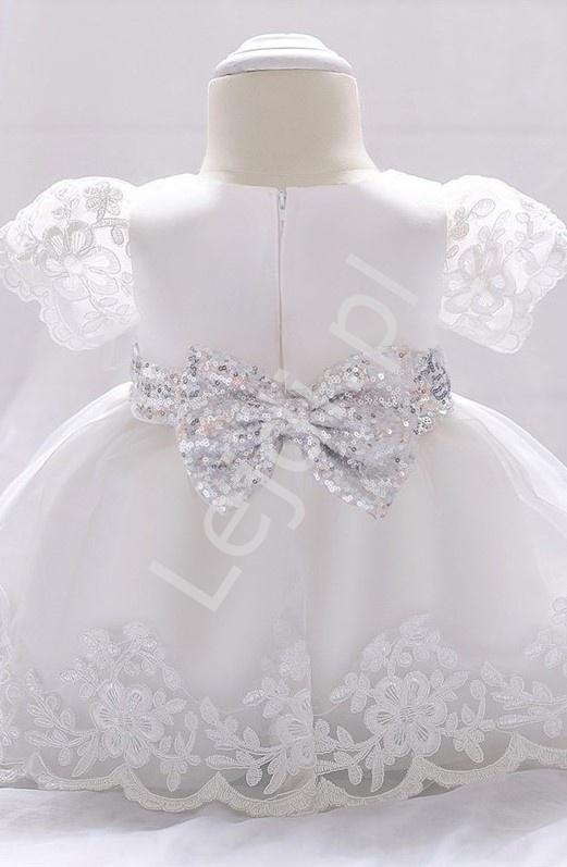 Biała sukienka dla dziewczynki do chrztu, na roczek z cekinową kokardą - Lejdi