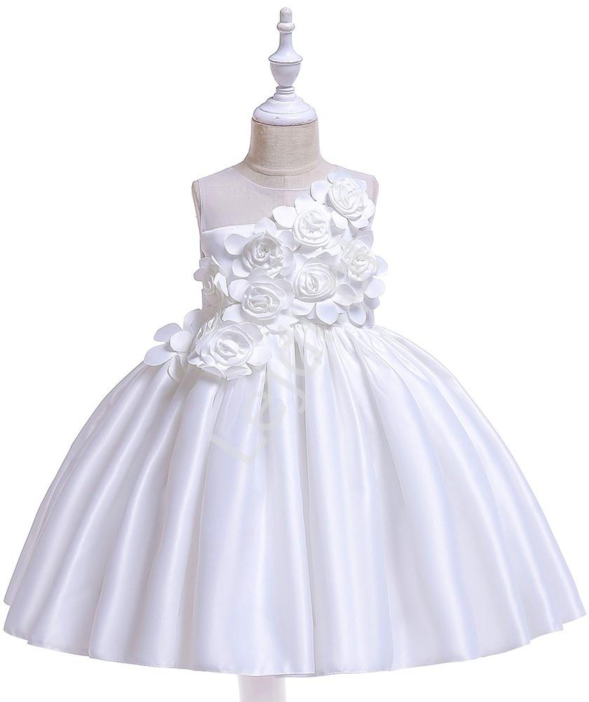 Biała sukienka dla dziewczynki na chrzciny komunię zdobiona kwiatami 3D 068 - Lejdi