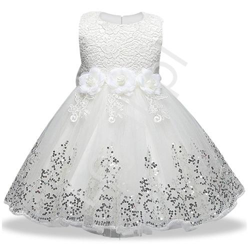 Biała sukienka dla dziewczynki na komunię, tiulowa z cekinami - Lejdi